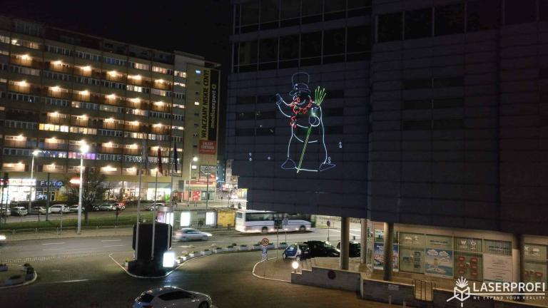 Animacja laserowa na hotelu Radisson