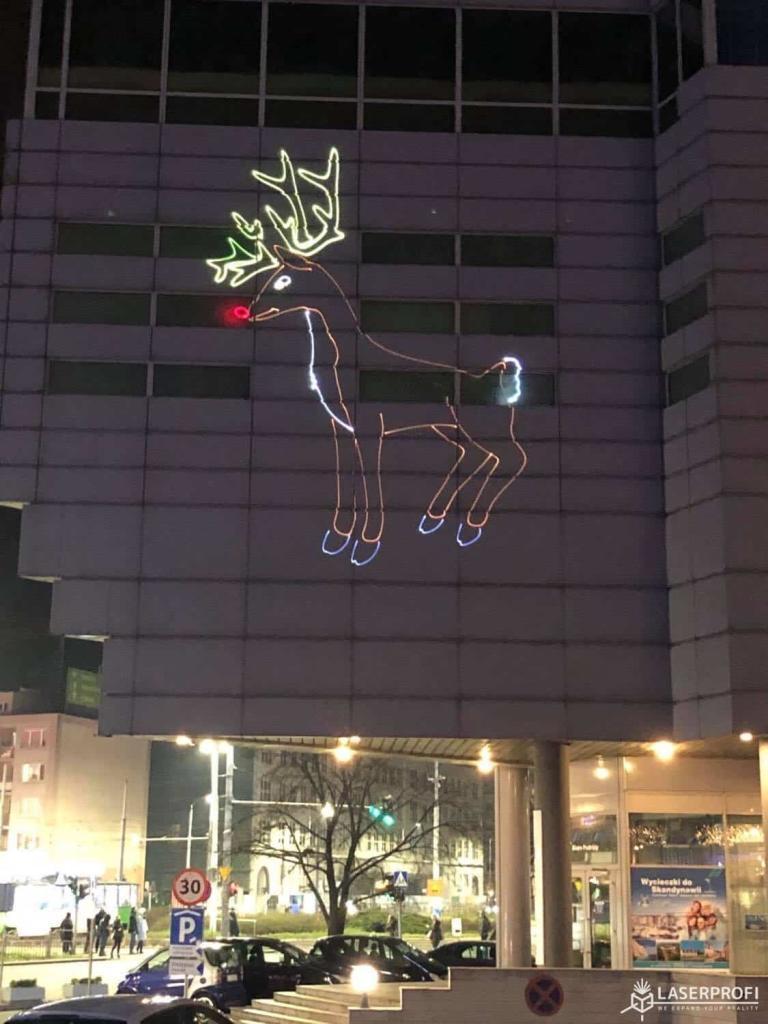 Laserowa animacja na fasadzie