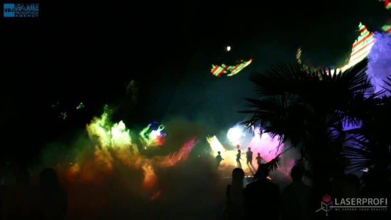 Pokaz laserów na weselu grudziądz plaża tunele z dymu