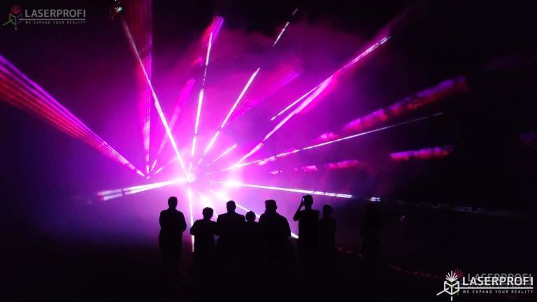 Pokaz laserów na 60 urodziny - laserowy tunel