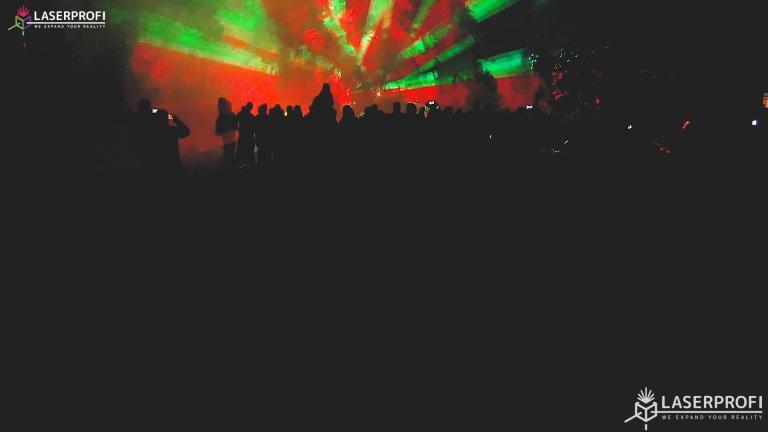 Pokaz laserowy przestrzenny - czerwony tunel