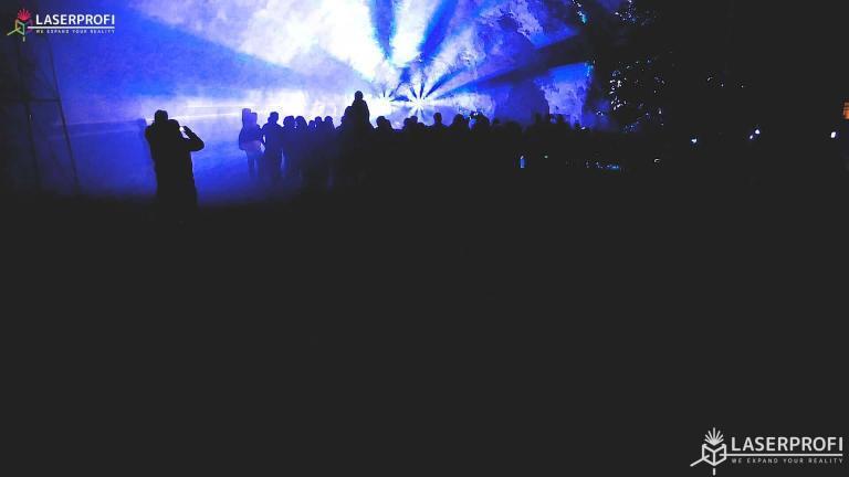 Pokaz laserowy przestrzenny - niebieski tunel