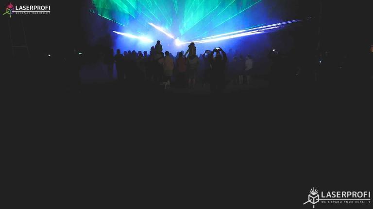 Pokaz laserowy przestrzenny - zielone lasery