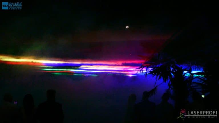 Pokaz laserowy wesele grudziądz plaża ściana z laserów