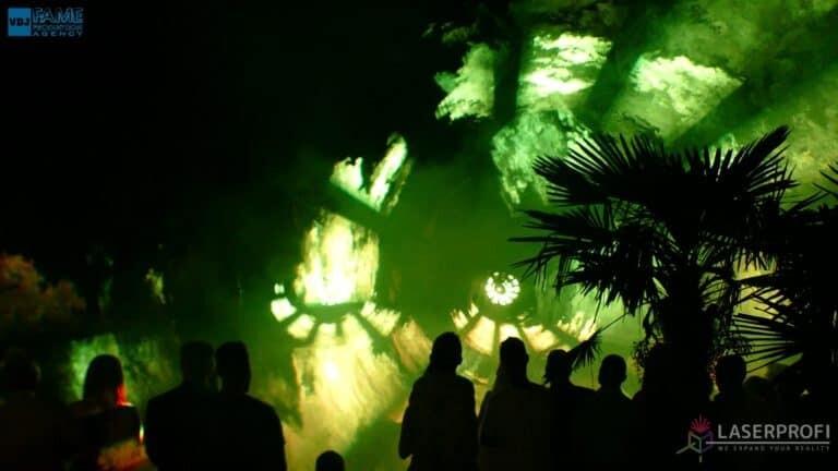 Pokaz laserowy wesele grudziądz plaża green laser fan