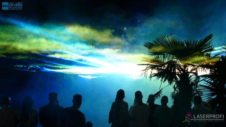 Pokaz laserowy wesele grudziądz plaża płynne niebo