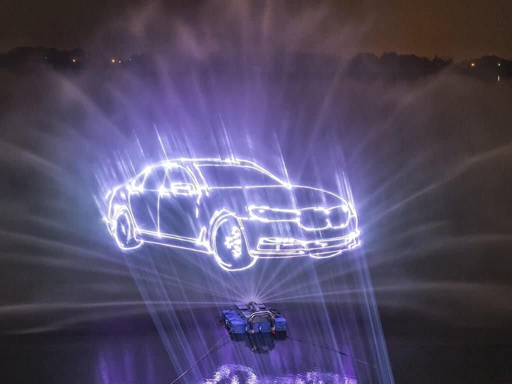 animacja laserowa na wodzie