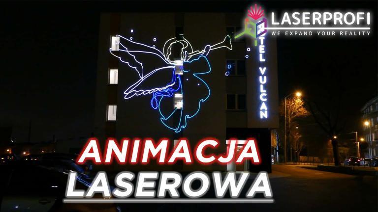 Animacja laserowa na fasadzie budynku hotelu [2019] [Quickshow]