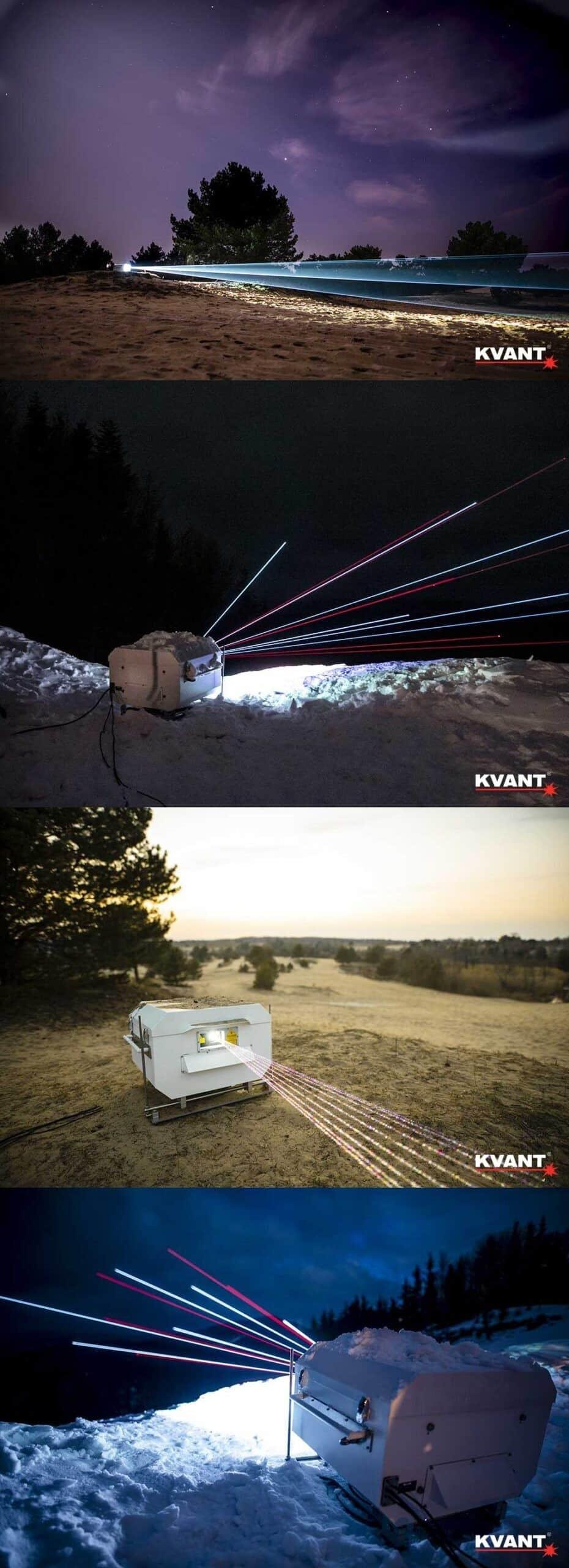 laser na zewnątrz - projekcja w niebo