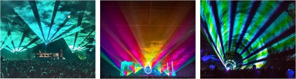 pokaz laserów - wachlarze laserowe na koncercie
