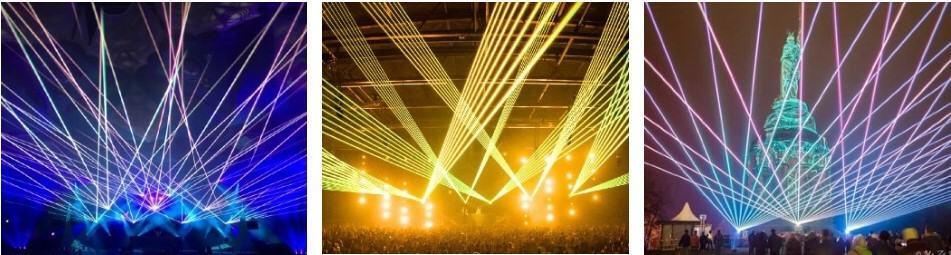 pokaz laserów wiązek laserowych na koncercie