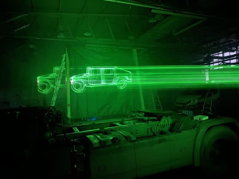 projekcja laserowa samochodu