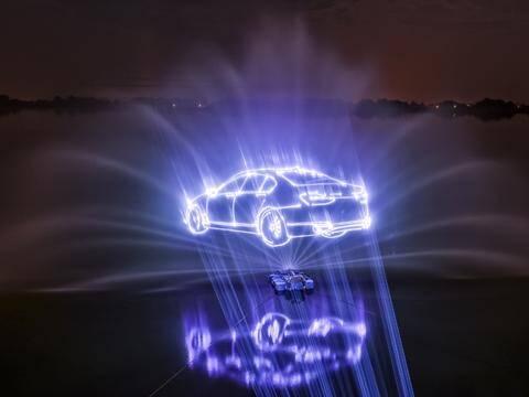 animacja laserowa samochodu na fontannie