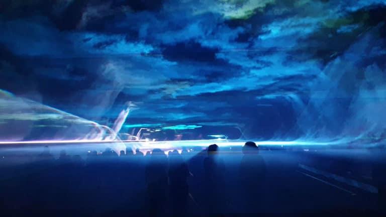 tunel przestrzenny w pokazie laserowym na sylwestra